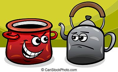 casier appel noir bouilloire, dessin animé