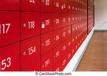casier, boîtes lettres, rouges