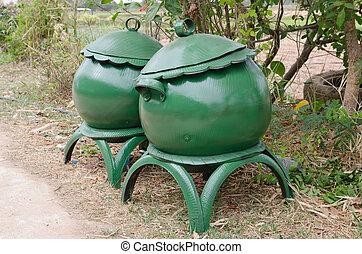casier, caoutchouc, vert, pneu, recycler
