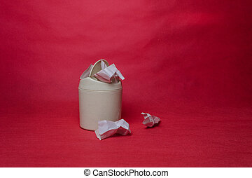 casier, chiffonné, concept, arrière-plan., lumière, paper., recyclage, déchets ménagers, ambiant, papier, closeup, feuilles, gaspillage, rouges