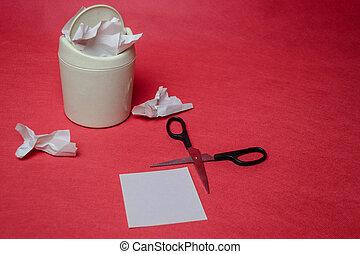 casier, chiffonné, concept, lumière, recyclage, déchets ménagers, arrière-plan., papier, closeup, feuilles, scissors., gaspillage, rouges