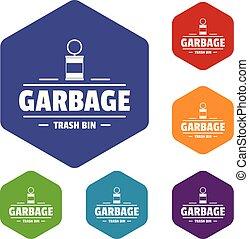 casier, déchets, icônes, hexahedron, vecteur, déchets ménagers