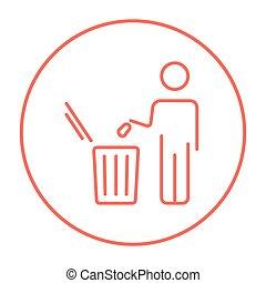casier, déchets, lancement, ligne, icon., homme