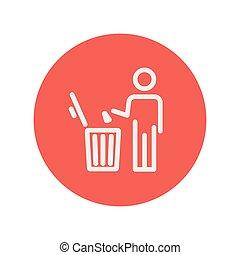 casier, déchets, lancement, ligne mince, homme, icône