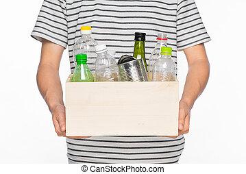 casier, entiers, eco, articles, concept., recyclage, isolé, ...