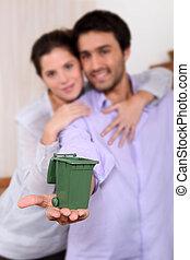 casier, miniature, couple, tenue