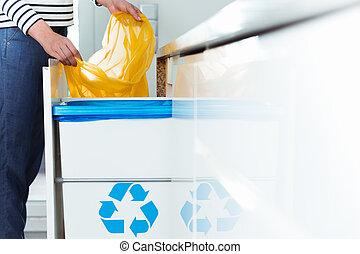 casier, recyclage, moderne, cuisine