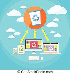 casier, tablette, téléphone, ordinateur portable, seau, synchroniser, recycler, déchets ménagers, nuage
