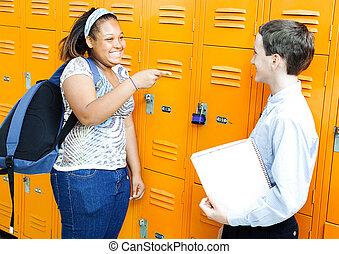 casiers, école, amis rire