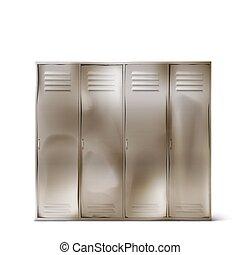 casiers, couloir, vieux, acier, ou, gymnase, école