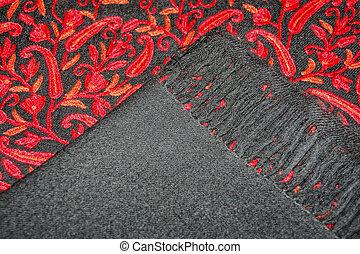 casimira, mantô, preto vermelho, bordado
