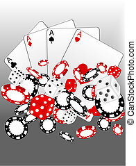 Casino 2 - Illustration of casino background with chips and...