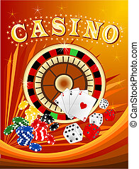 Casino 4 - Illustration of casino background with chips and...