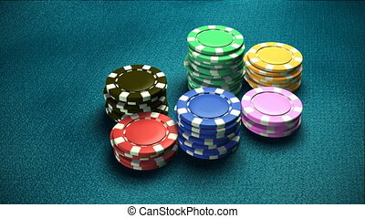 Casino 6 color of chips blue table - The 3d rendering of...