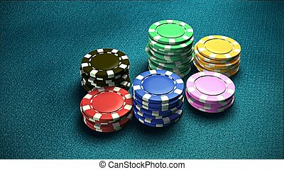 Casino 6 of chips blue table 1