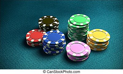 Casino 6 of chips blue table 2
