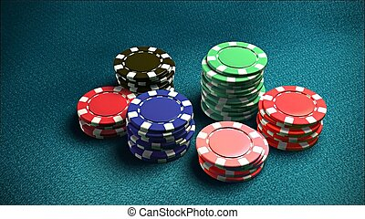 Casino 6 of chips blue table 4