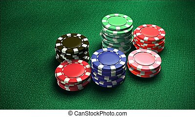 Casino 6 of chips green color table