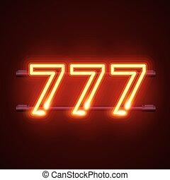 casino, 777, neon, signboard, winnaar, drievoudig, sevens.