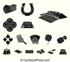 Casino and equipment black icons in set collection for design. Gambling and money vector symbol stock web illustration.
