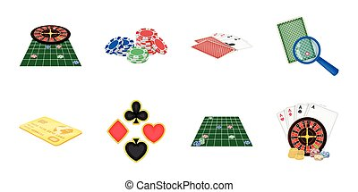 Casino and equipment icons in set collection for design. Gambling and money vector symbol stock web illustration.