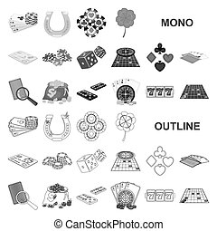 Casino and equipment monochrom icons in set collection for design. Gambling and money vector symbol stock web illustration.