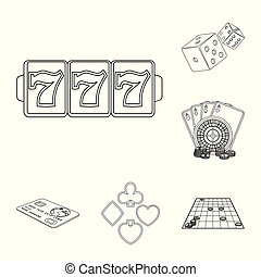 Casino and equipment outline icons in set collection for design. Gambling and money vector symbol stock web illustration.