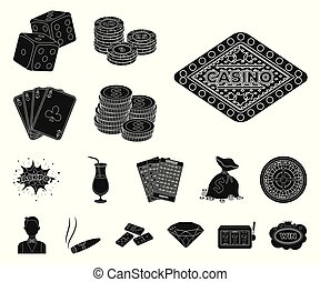 Casino and gambling black icons in set collection for design. Casino and equipment vector symbol stock web illustration.