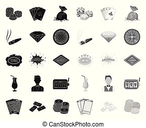 Casino and gambling black. mono icons in set collection for design. Casino and equipment vector symbol stock web illustration.