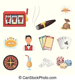 Casino and gambling cartoon icons in set collection for...