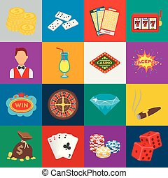 Casino and gambling cartoon icons in set collection for design. Casino and equipment vector symbol stock web illustration.