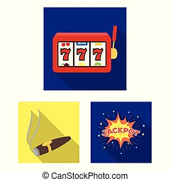 Casino and gambling flat icons in set collection for design. Casino and equipment vector symbol stock web illustration.