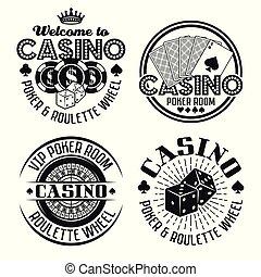 Casino and gambling four vector black emblems