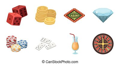 Casino and gambling icons in set collection for design. Casinos and equipment vector symbol stock web illustration.