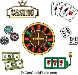 Casino and gambling icons set