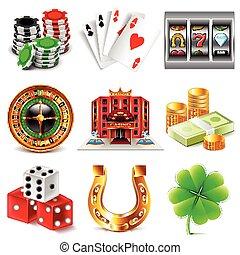Casino and gambling icons vector set