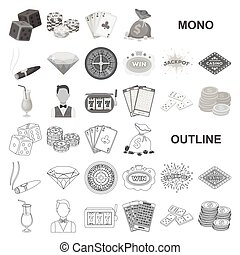 Casino and gambling monochrom icons in set collection for design. Casino and equipment vector symbol stock web illustration.