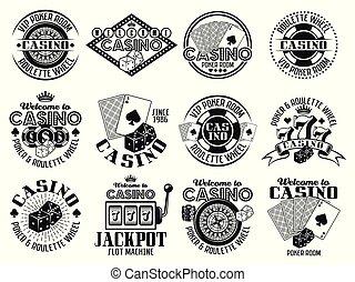 Casino and gambling vector emblems, labels, badges