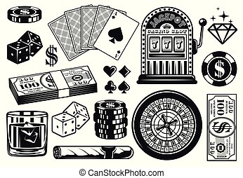 Casino and poker vector objects, vintage elements