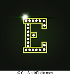 Casino and resort Letter E. Luxury letter with gems. Glowing effect, highlight on letter border. Entertainment decoration element. Vector logo and monogram template