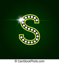 Casino and resort Letter S. Luxury letter with gems. Glowing effect, highlight on letter border. Entertainment decoration element. Vector logo and monogram template
