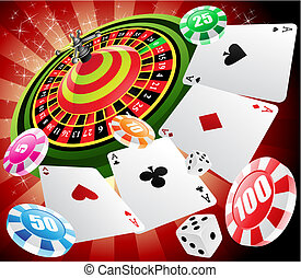 a roulette table with various gambling and casino elements, vector illustration
