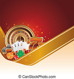casino background - casino design element with gold ribbon
