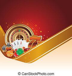 casino background - casino design element with gold ribbon