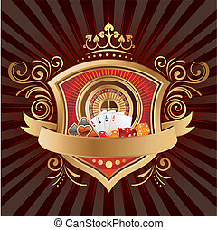 casino background - casino elements,shield,crown,black...