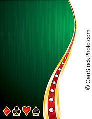 Green background with cards symbols for casino