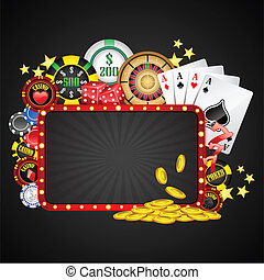 illustration of different casino object with board