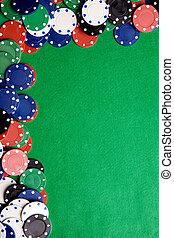 Casino Background - Casino chips on a green felt -...