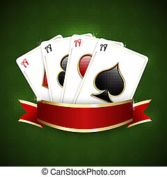 Casino background with ribbon and playing cards