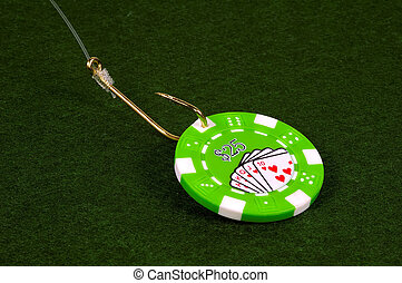 Casino Bait - Poker CHip on a Fish Hook.